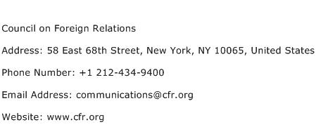 Council on Foreign Relations Address Contact Number