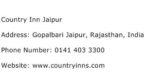 Country Inn Jaipur Address Contact Number