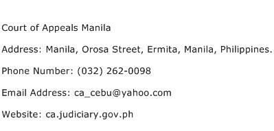 Court of Appeals Manila Address Contact Number