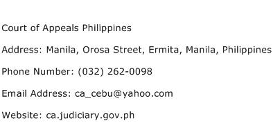 Court of Appeals Philippines Address Contact Number