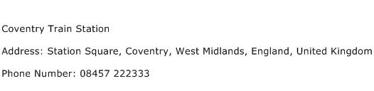 Coventry Train Station Address Contact Number