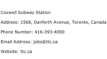 Coxwell Subway Station Address Contact Number