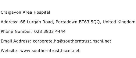Craigavon Area Hospital Address Contact Number