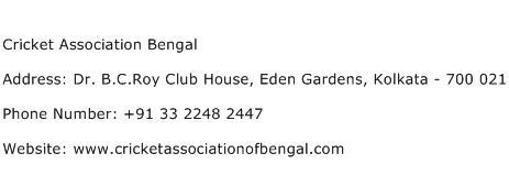Cricket Association Bengal Address Contact Number