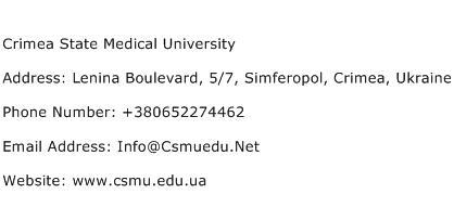 Crimea State Medical University Address Contact Number