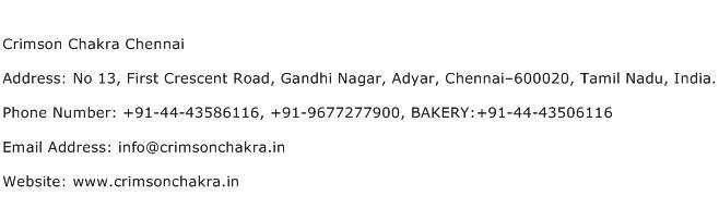 Crimson Chakra Chennai Address Contact Number