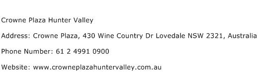 Crowne Plaza Hunter Valley Address Contact Number
