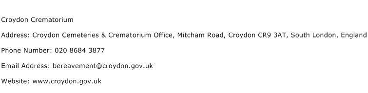 Croydon Crematorium Address Contact Number
