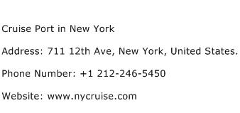 Cruise Port in New York Address Contact Number