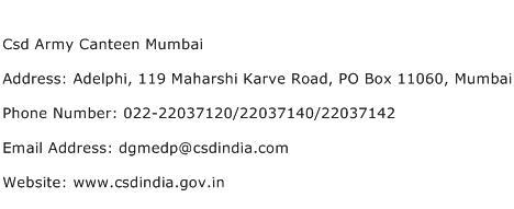 Csd Army Canteen Mumbai Address Contact Number