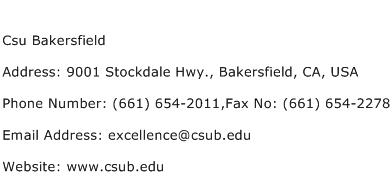 Csu Bakersfield Address Contact Number