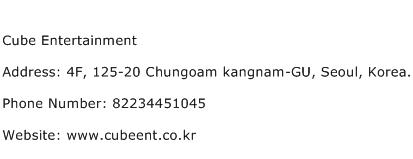 Cube Entertainment Address Contact Number