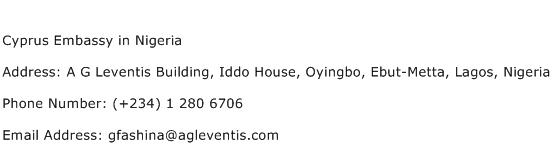 Cyprus Embassy in Nigeria Address Contact Number