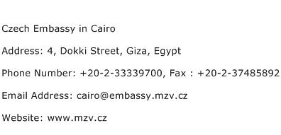 Czech Embassy in Cairo Address Contact Number