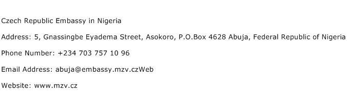 Czech Republic Embassy in Nigeria Address Contact Number