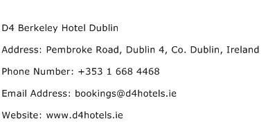 D4 Berkeley Hotel Dublin Address Contact Number