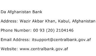Da Afghanistan Bank Address Contact Number