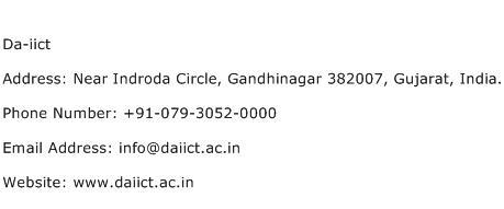 Da iict Address Contact Number