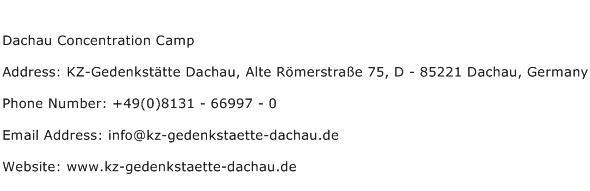 Dachau Concentration Camp Address Contact Number