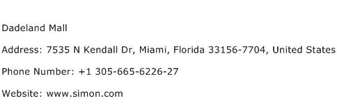 Dadeland Mall Address Contact Number