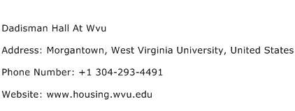 Dadisman Hall At Wvu Address Contact Number