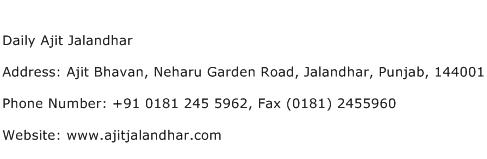 Daily Ajit Jalandhar Address Contact Number