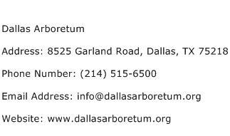 Dallas Arboretum Address Contact Number