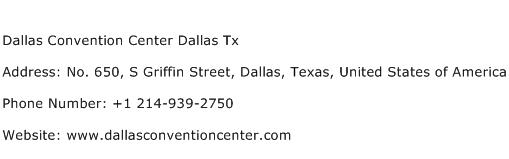Dallas Convention Center Dallas Tx Address Contact Number