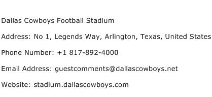 Dallas Cowboys Football Stadium Address Contact Number
