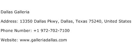 Dallas Galleria Address Contact Number