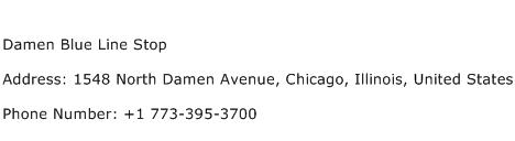 Damen Blue Line Stop Address Contact Number