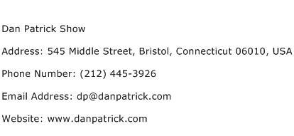 Dan Patrick Show Address Contact Number