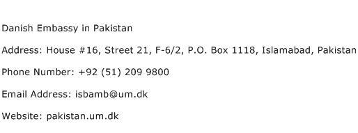 Danish Embassy in Pakistan Address Contact Number