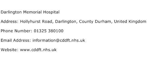 Darlington Memorial Hospital Address Contact Number