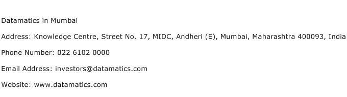 Datamatics in Mumbai Address Contact Number