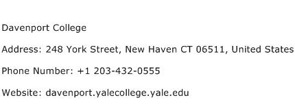 Davenport College Address Contact Number
