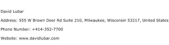 David Lubar Address Contact Number