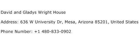 David and Gladys Wright House Address Contact Number
