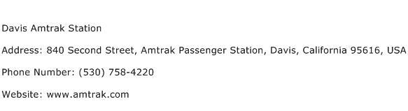 Davis Amtrak Station Address Contact Number