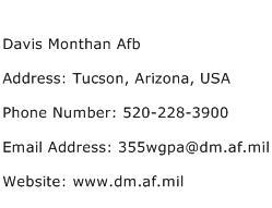 Davis Monthan Afb Address Contact Number