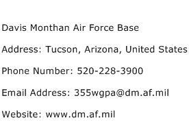Davis Monthan Air Force Base Address Contact Number
