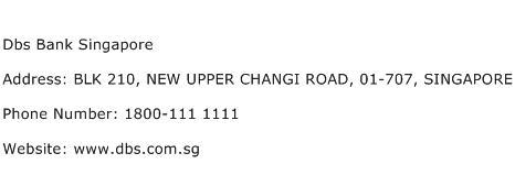 Dbs Bank Singapore Address Contact Number