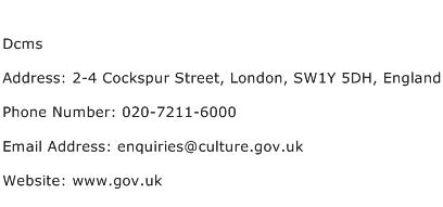 Dcms Address Contact Number