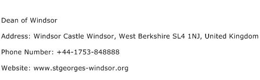 Dean of Windsor Address Contact Number