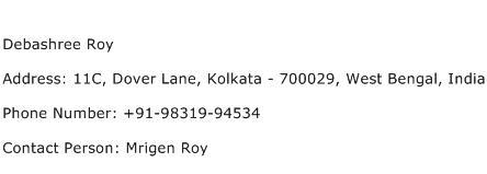 Debashree Roy Address Contact Number