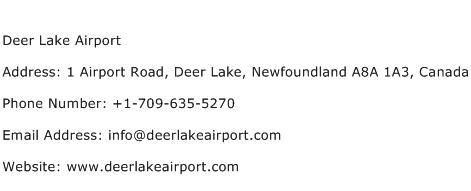 Deer Lake Airport Address Contact Number
