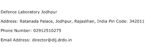 Defence Laboratory Jodhpur Address Contact Number