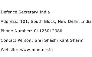 Defence Secretary India Address Contact Number