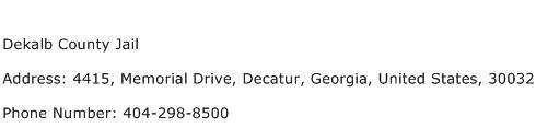 Dekalb County Jail Address Contact Number