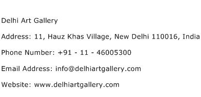 Delhi Art Gallery Address Contact Number